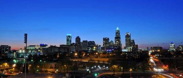 The skyline view of Downtown Charlotte NC.