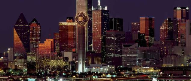 Downtown Dallas and Reunion Tower at night.