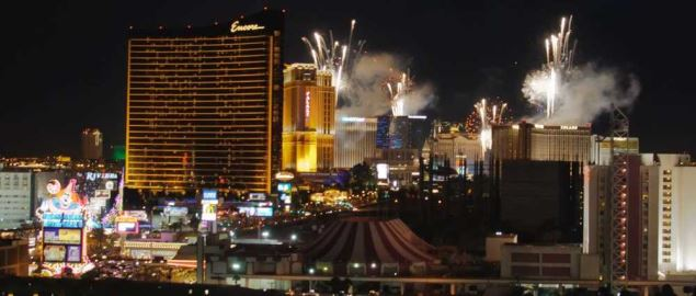 New Years Eve fireworks celebration on the Las Vegas Strip.