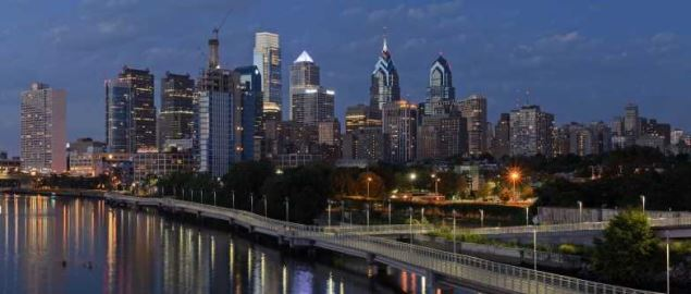 Four-segment panorama of Philadelphia skyline, as viewed from the South Street Bridge.